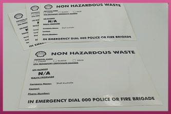 Custom Printed Industrial Use Stickers - Shell - non Hazardous