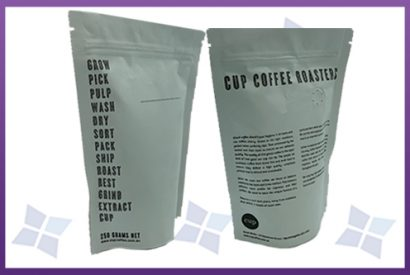 Stand-Up Pouches - Tear Notch & Zip - Coffee