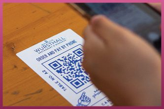 QR code stickers table tops for COVID