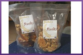 Clear Stock Stand Up Pouches with Labels - Jadon's-Rusks